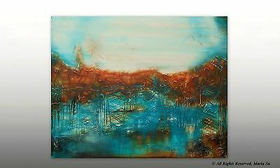 Large Landscape Abstract Painting - Textured Art - Original Turquoise Wall Art