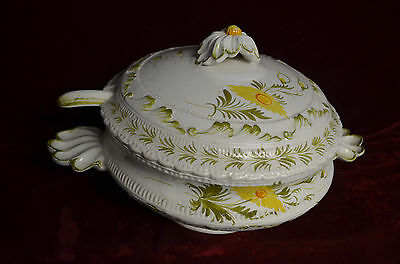 """Vintage Italy #36 out of 46 10"""" Soup Tureen w/Lid & Laddle Flowered Hand Painted"""