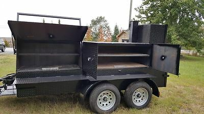 BigFoot Double Axle BBQ Pro Smoker Grill Trailer Food Mobile Catering Barn Doors