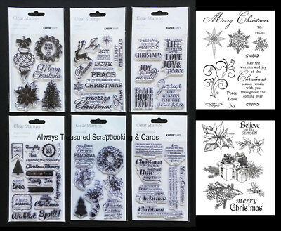 Kaisercraft Kaiser Unmounted Acrylic Clear Stamp ~8 Christmas Design Option Card