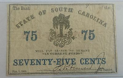 1863 State of South Carolina 75 Cent Note
