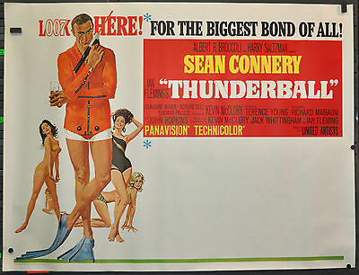 Thunderball 1965 Original 60X45 Subway Adv. Movie Poster Sean Connery Bond 007