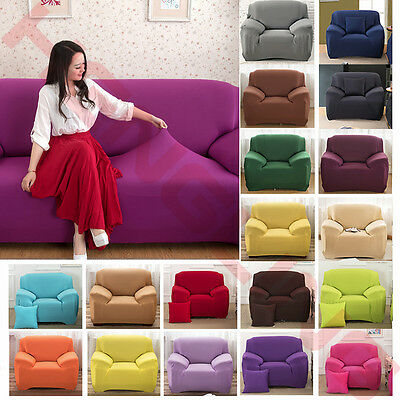 19 Kinds Pure Color Stretch Elastic Slipcover Sofa Cover Couch 1 2 3 4 Seat