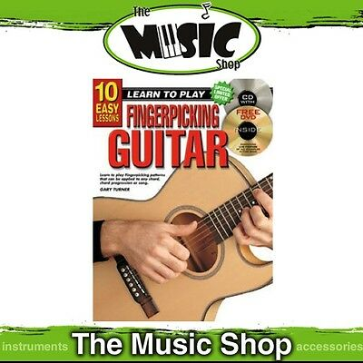 New 10 Easy Lessons Learn to Play Fingerpicking Guitar Music Book with CD & DVD