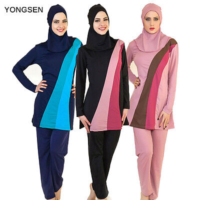 2018 Muslim Swimsuit Women Modesty Swimwear Full Cover Islamic Burkini Beachwear