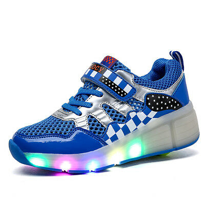 Kids Girls Boys LED Light Up Retractable Wheels Roller Skates Shoes Sneakers