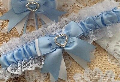 Wedding Garter White And Baby Blue Lace Satin Heart Diamante Crystal Bridal Gift