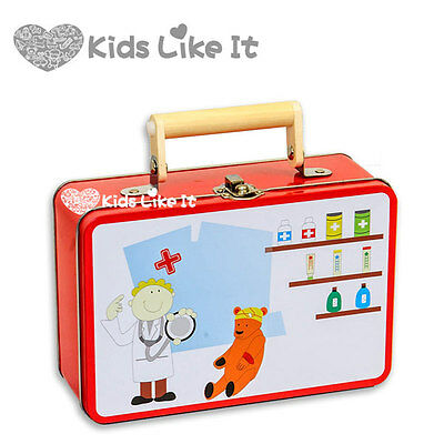 Tin Box Wooden Kids Medical Kit Doctor Nurse Pretend Play SET Educational TOY