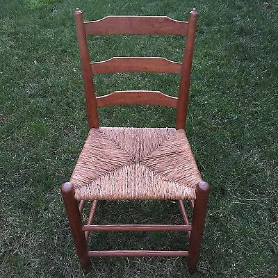 Antique Wooden Ladder Back Chair With Woven Rush Grass Seat, Cane Chair