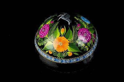 Lacquered Hand Painted Black Gourd Olinala Guerrero Mexican Folk Art Lg3