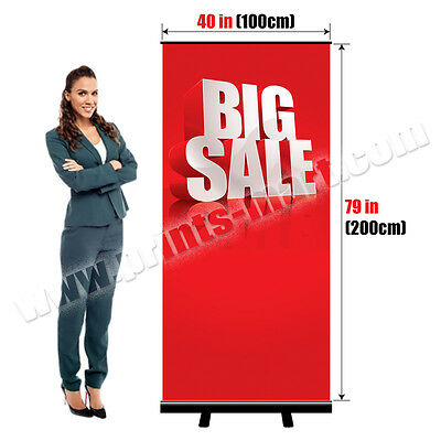"40""x79"" Retractable Roll Up Banner Stand Portable Trade Show Display + Printing"