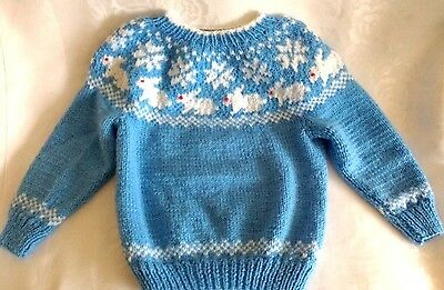 Hand Knitted Childrens Nordic Fair Isle Blue White Kids Sweater Size 4T-5T New