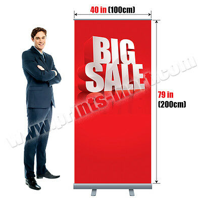"""40"""" Roll Up Retractable Banner Trade Show Exhibition Display Stand FREE PRINTING"""