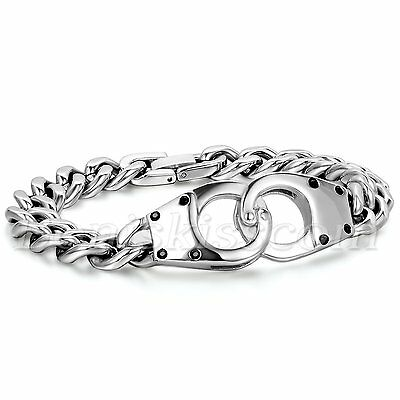 Men's Silver Tone Stainless Steel Double Handcuff Cuban Curb Bracelet Link Chain