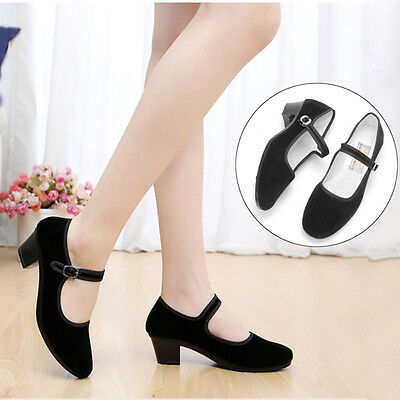 New Womens Ladies Black Mid Block Heel Mary Jane Office Work Formal Strap Shoes