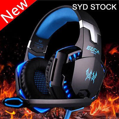 New Gaming Headset LED Headband Luminous Headphones + Microphone Mic For PC USB