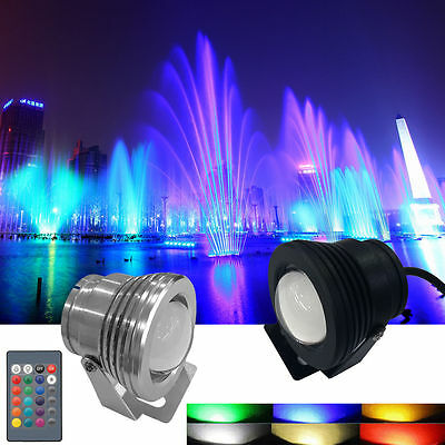 4x IP68 10W 12V RGB LED Fountain Pool Spotlight Downlight Underwater Lawn Lamp