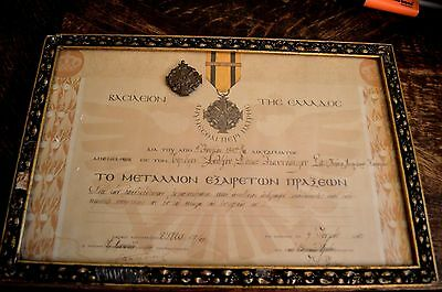 Greek Greece Military Merit Medal With Gilded Framed Diploma Decoration Ww Ii