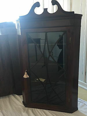 Antique Mahogany and glazed glass Wall Hanging Corner Cabinet cupboard
