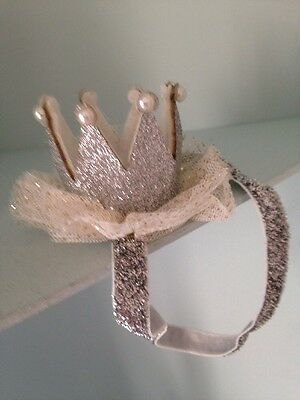 Sparkle Baby Crown Head Band . SilverFancy Baby Head Band . Party Head Band
