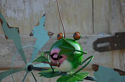 Girouette Moulin A Vent Metal Fer Forge Style Shabby Chic Patine Grenouille