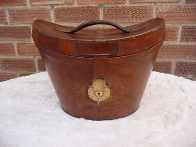 Lovely  Vintage  Leather Bucket Top Hat Box Ascot Storage With Key