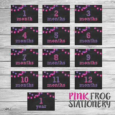 Baby Girl/Baby Boy 12 Month Milestone Cards (13 Cards Pack) CLEARANCE