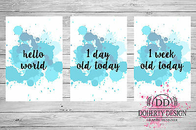 New 'BLUE' Watercolour Milestone Cards (28 Cards Pack) {Photo Props} CLEARANCE
