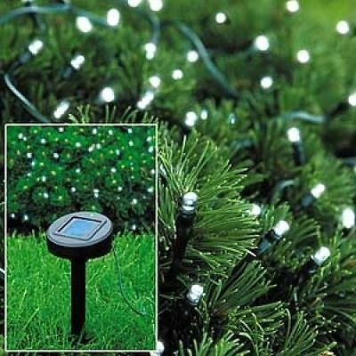 50 Led Solar Powered Garden Party  String White Fairy Lights Garden Party