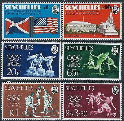 n314) Seychelles. 1976. MNH. SG 363 to 368. Independence & U.S. Bi-centenary.
