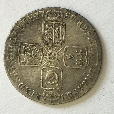 Antique George II Silver Sixpence 6 Pence 1757 Coin