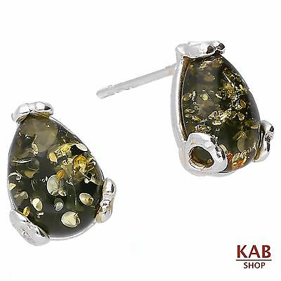 Green Baltic Amber Sterling Silver 925 Jewellery, Stud Earrings. Kab-47