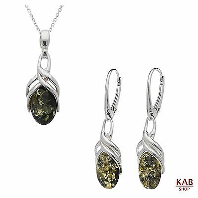 Green Baltic Amber Sterling Silver 925 Jewellery Pendant & Earrings, Kab-95