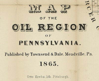 1865 Map of the Oil Region of Pa Venango Warren Crawford County Pennsylvania
