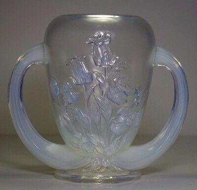 Verlys Art Deco Opalescent Glass Vase French Art Campanules Flowers 1930