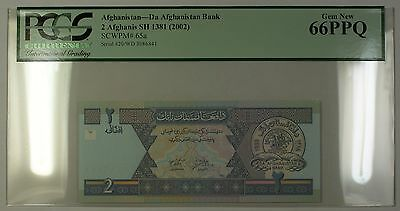 SH1381 (2002) Afghanistan 2 Afghanis Bank Note SCWPM# 65a PCGS GEM New 66 PPQ