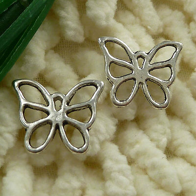 free ship 100 pieces tibetan silver butterfly charms 16x13mm #2638