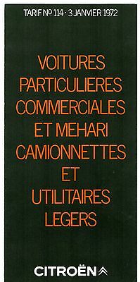 Citroen Car & Commercial Price List 1972 French Market Brochure 2CV Dyane DS SM