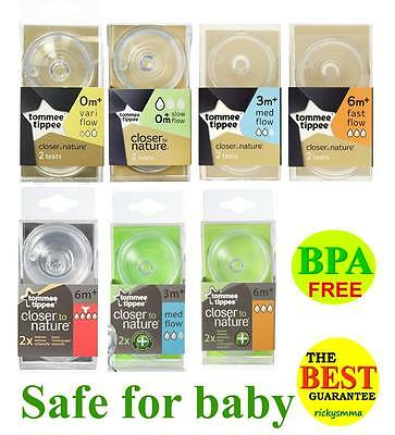 Tommee Tippee Closer To Nature Bottle Nipples Teats Anti Colic Plus 6M+ 3m+ teat
