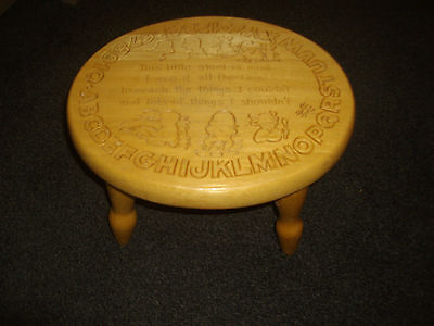 Unbranded ~ Childs Wooden Stool ~ Letters, Numbers Characters & Verse Engraved