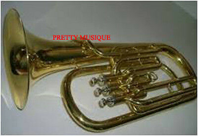 Horn Baritone Brass Polish W/free Case Box & Mouthpiece Made Of Pure Brass