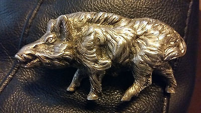 solid silver wild boar animal figurine