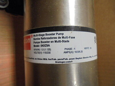 "Multi Stage Booster Pump 5NXZ9A | 1-1/2 HP | 3/4"" NPT"