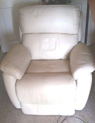 Electric Cream Real Leather Auto Recliner Armchair Sofa Lounge Chair