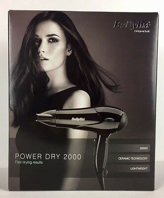 BaByliss Hair Dryer Power Dry 2000W 3 Heat 2 speed Settings 5245U- Black New
