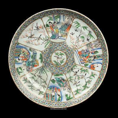China 19. Jh. Teller - A Chinese Canton Export Plate Famille Rose Chinois Cinese