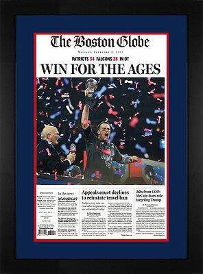 Tom Brady Patriots Super Bowl 51 Boston Globe Framed Newspaper Win For the Ages