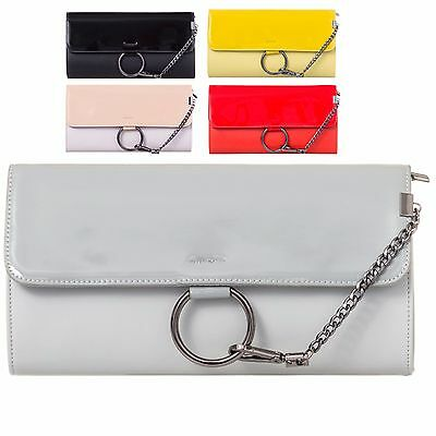Ladies Fx Leather Patent Gold Ring Envelope Style Clutch Evening Bag Purse KL916