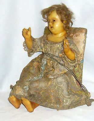 Antique rare Wax huge French Baby doll , Nativity , 18th century , silver silk