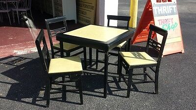 Vintage Wood & Vinyl Folding Table + 4 Folding Chairs